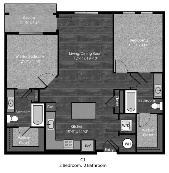 Twain-2Bed Floor Plan Layout at The Edition Apartments, Maryland, 20782
