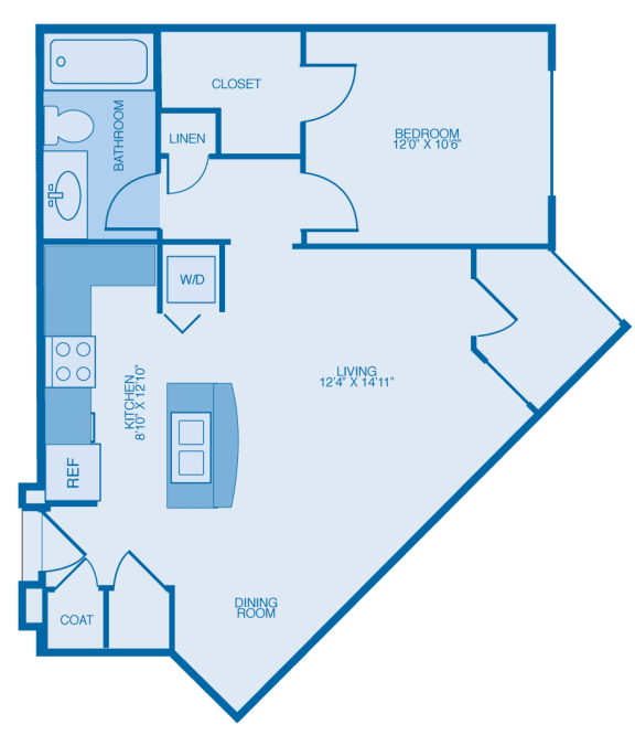 Ade One Bedroom Floor Plan at Marble Alley Lofts, Knoxville, TN