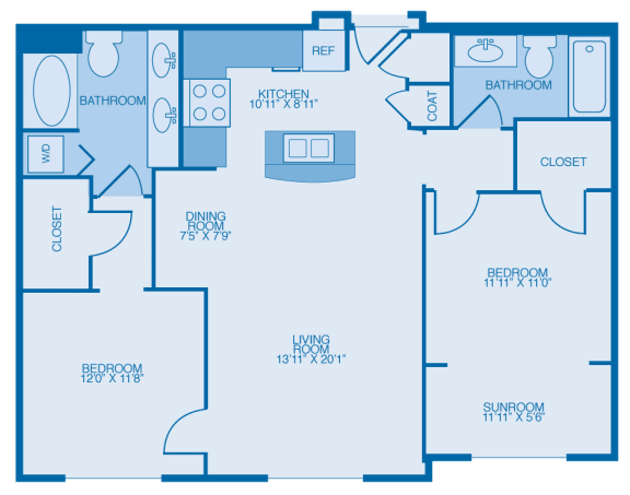 Aggie Two Bedroom Floor Plan at Marble Alley Lofts, Tennessee