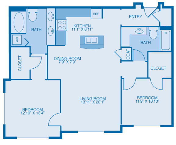 Bennington Two Bedroom Floor Plan at Marble Alley Lofts, Tennessee, 37902