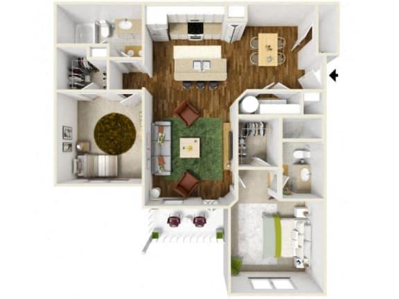 Floor Plan  Sonoma Pointe Two Bedroom Floor Plan