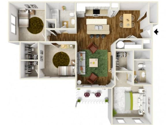 Floor Plan  Sonoma Pointe Three Bedroom Floor Plan