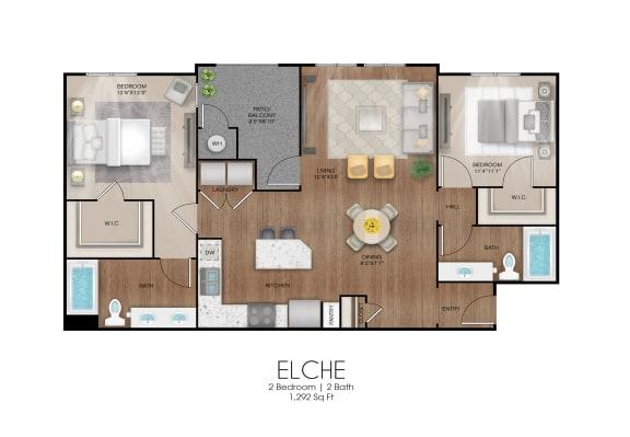 Floor Plan  2 bedroom 2 bathroom Elche floor plan, opens a dialog