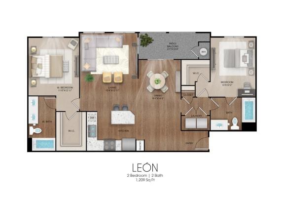 Floor Plan  2 bedroom 2 bathroom Leon floor plan, opens a dialog