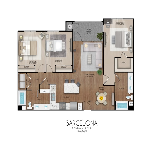 Floor Plan  3 bedroom 2 bathroom Barcelona floor plan, opens a dialog