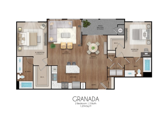 Floor Plan  2 bedroom 2 bathroom Granada floor plan, opens a dialog