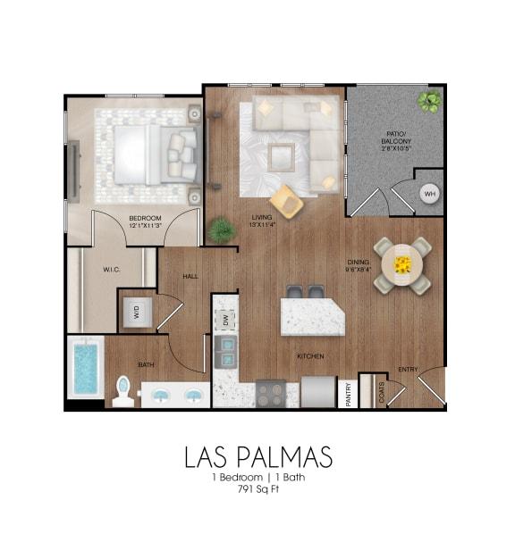 Floor Plan  1 bedroom 1 bathroom Las Palmas floor plan, opens a dialog