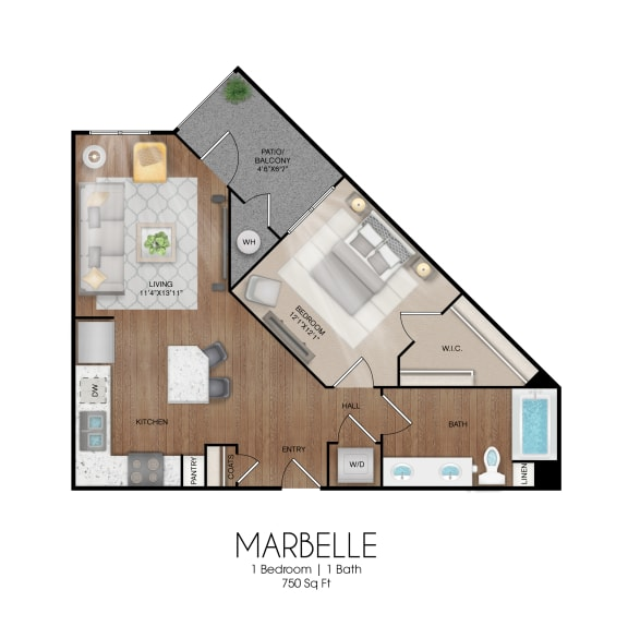 Floor Plan  1 bedroom 1 bathroom Marbelle floor plan, opens a dialog