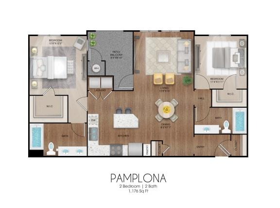 Floor Plan  2 bedroom 2 bathroom Pamplona floor plan, opens a dialog