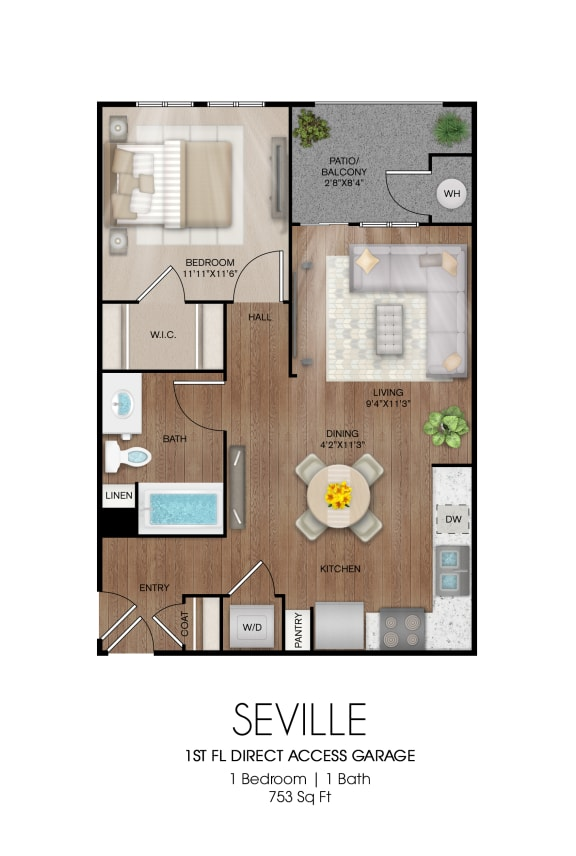 Floor Plan  1 bedroom 1 bathroom Seville floor plan, opens a dialog