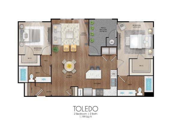 Floor Plan  2 bedroom 2 bathroom Toledo floor plan, opens a dialog