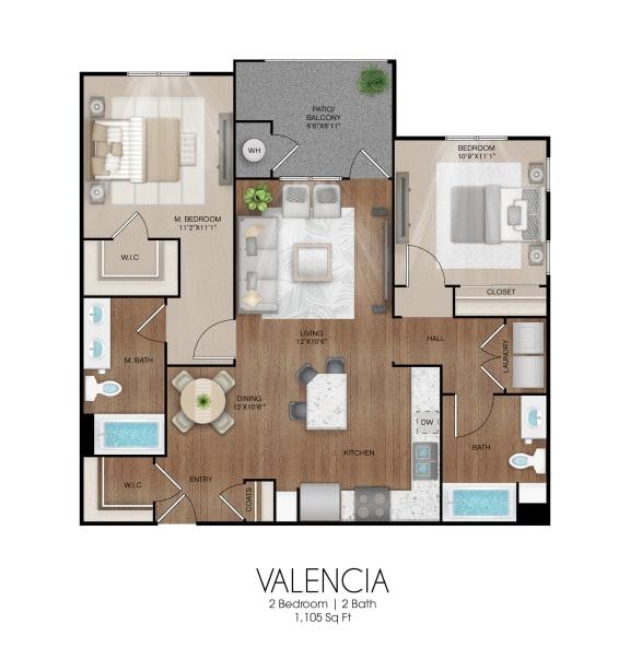 Floor Plan  2 bedroom 2 bathroom Valencia floor plan, opens a dialog