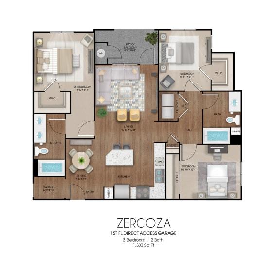 Floor Plan  3 bedroom 2 bathroom Zergoza floor plan, opens a dialog