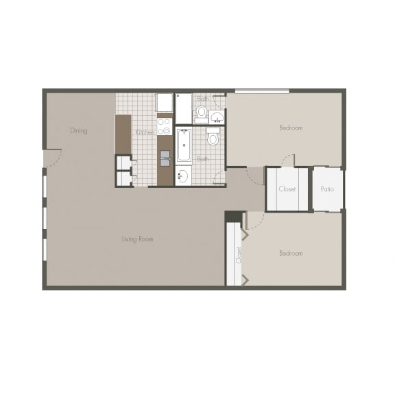Sahara 2BR/2BH Floor plan at Desert Creek, New Mexico
