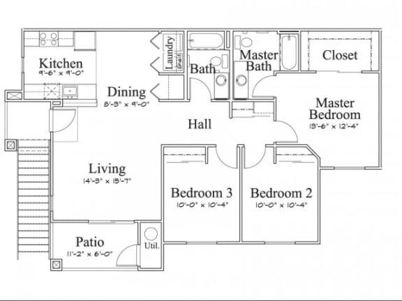 3 Bedroom 2 Bath Floor Plan, 1,181 square feet with patio