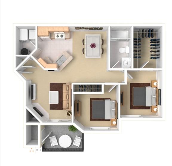 2 Bedroom Floor Plan Apartment For Rent in Gresham OR 97080 l The Arden