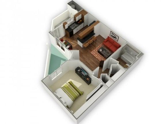 Floor Plan  1 Bed 1 Bath Cobalt Floor plan, at The Bristol at Sunset, Henderson, 89014