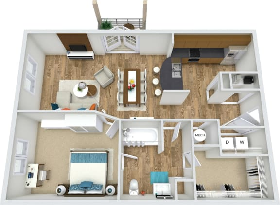 Floor Plan  Floor Plan A1 at Rose Heights apartment Raleigh, NC