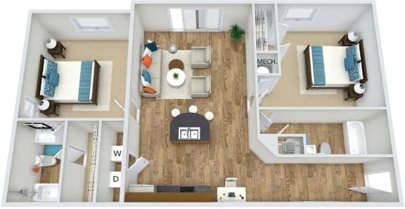 Floor Plan  Floor Plan B1 at Rose Heights apartment Raleigh, NC