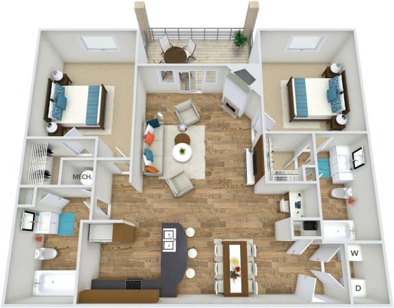 Floor Plan  Floor Plan B2 at Rose Heights apartment Raleigh, NC