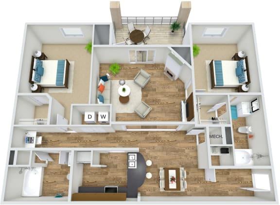 Floor Plan  Floor Plan B3 at Rose Heights apartment Raleigh, NC