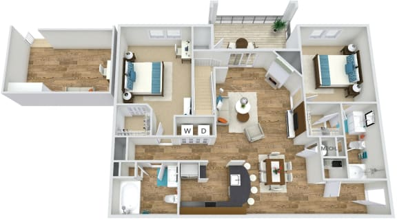 Floor Plan B4 at Rose Heights apartment Raleigh, NC
