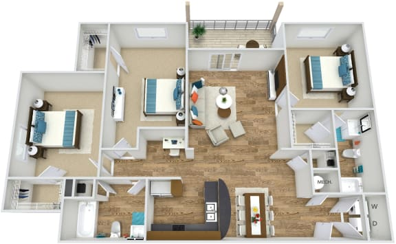 Floor Plan C1 at Rose Heights apartment Raleigh, NC