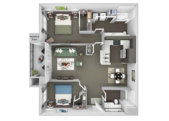 Preserve at Blue Ravine - B1 - Cottonwood - 2 bedroom - 2 bath - 3D