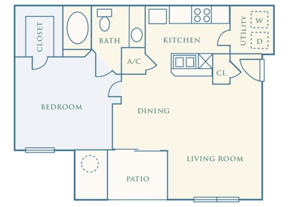 Grand Centennial Floor Plan A1 Eagle's Nest - 1 bedroom 1 bath - 2D