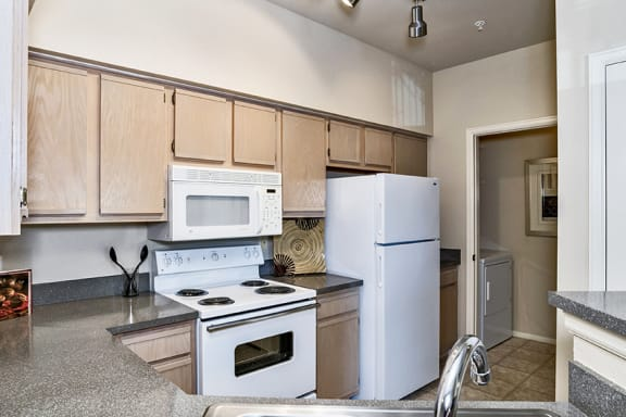 Fully-equipped kitchen with a stovetop, microwave, dishwasher and full-sized refrigerator