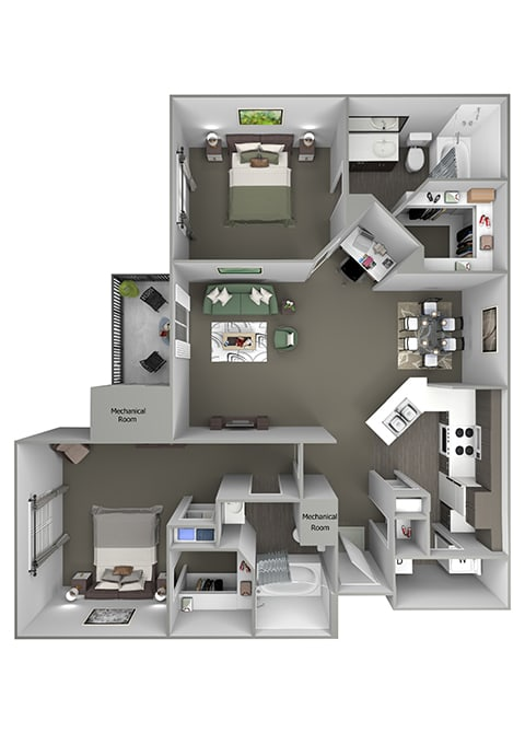 Grand Centennial Floor Plan B4 The Commanche- 2 bedrooms 2 baths - 3D