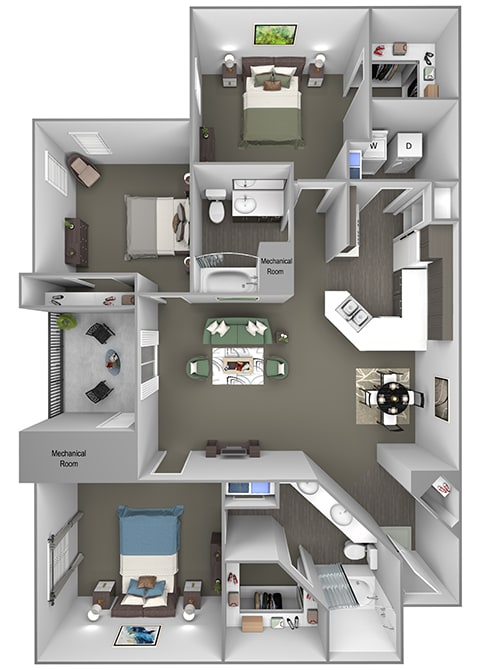 Grand Centennial Floor Plan C1 The Manitou - 3 bedrooms 2 baths - 3D