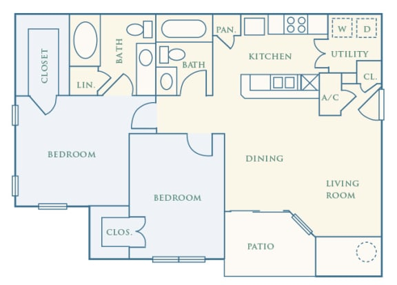 Grand Centennial Floor Plan B2 The Arapahoe - 2 bedrooms 1 bath - 2D