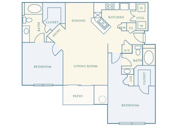 Grand Centennial Floor Plan B4 The Commanche- 2 bedrooms 2 baths - 2D