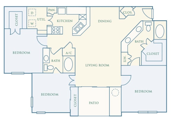 Grand Centennial Floor Plan C1 The Manitou - 3 bedrooms 2 baths - 2D