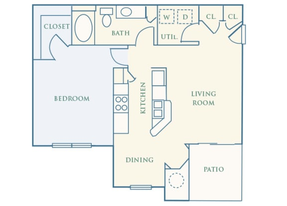 Grand Centennial Floor Plan A3 The Telluride - 1 bedroom 1 bath - 2D
