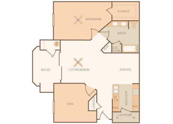 Mountain Shadows Apartments - A2 (Antiqua) - 1 Bedroom and 1 bath - 2D floor plan