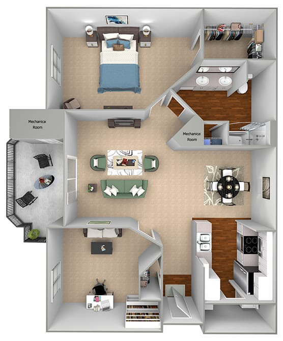 Mountain Shadows Apartments - A2 (Antiqua) - 1 Bedroom and 1 bath - 3D floor plan