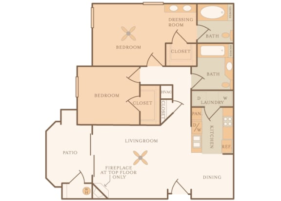 Mountain Shadows Apartments - B1 (Bahia) - 2 Bedroom and 2 bath - 2D floor plan
