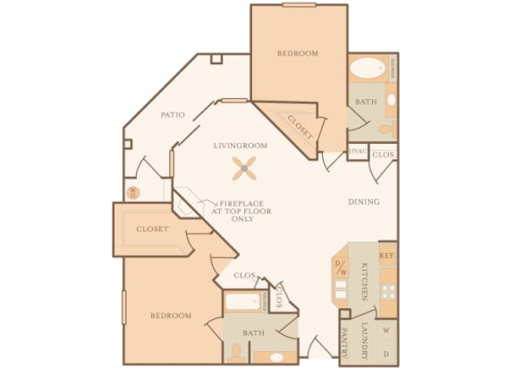 Mountain Shadows Apartments - B2  (Bahama) - 2 Bedroom and 2 bath - 2D floor plan