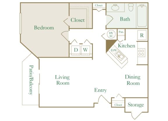 Egrets Landing Apartments - A1 (Heron) - 1 bedroom and 1 bath - 2D floor plan