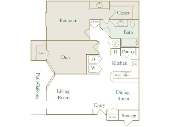 Egrets Landing Apartments - A2 (Pelican) - 1 bedroom and 1 bath - 2D floor plan