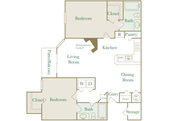 Egrets Landing Apartments - B1 (Egret) - 2 bedroom and 2 bath - 2D floor plan