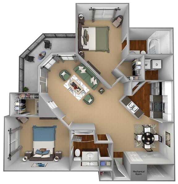 Egrets Landing Apartments - B2 (Seabreeze) - 2 bedrooms and 2 bath - 3D floor plan