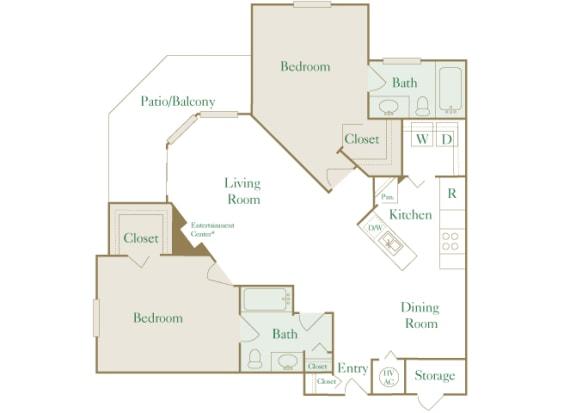 Egrets Landing Apartments - B2 (Seabreeze) - 2 bedrooms and 2 bath - 2D floor plan