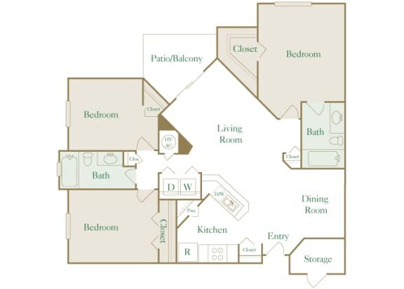 Egrets Landing Apartments - C1 (Preserve) - 3 bedrooms and 2 bath - 2D floor plan