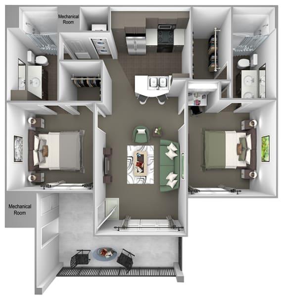 Foothills at Old Town - B1 (Verbena) - 2 bedrooms and 2 bath - 3D floor plan