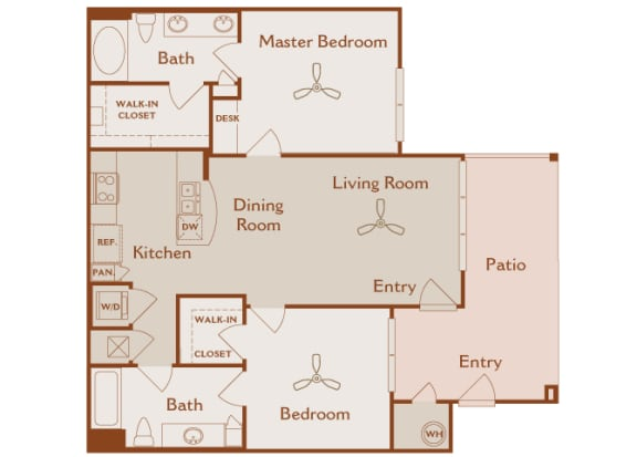 Foothills at Old Town - B1 (Chamise) - 2 bedroom and 2 bath - 2D floor plan