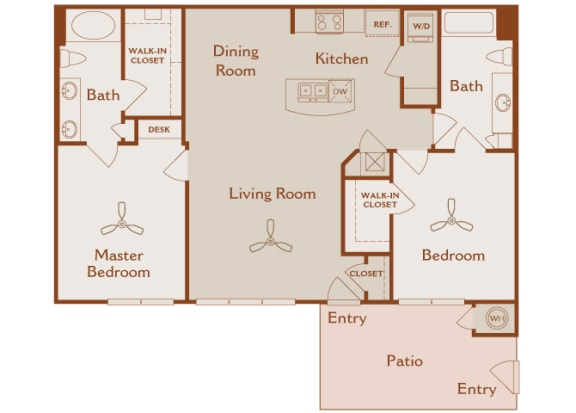 Foothills at Old Town - B2 (Sage) - 2 bedrooms and 2 bath - 2D floor plans