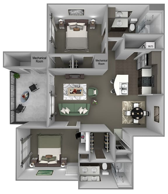 Foothills at Old Town - B3 (White Alder) - 2 bedrooms and 2 bath - 3D floor plan